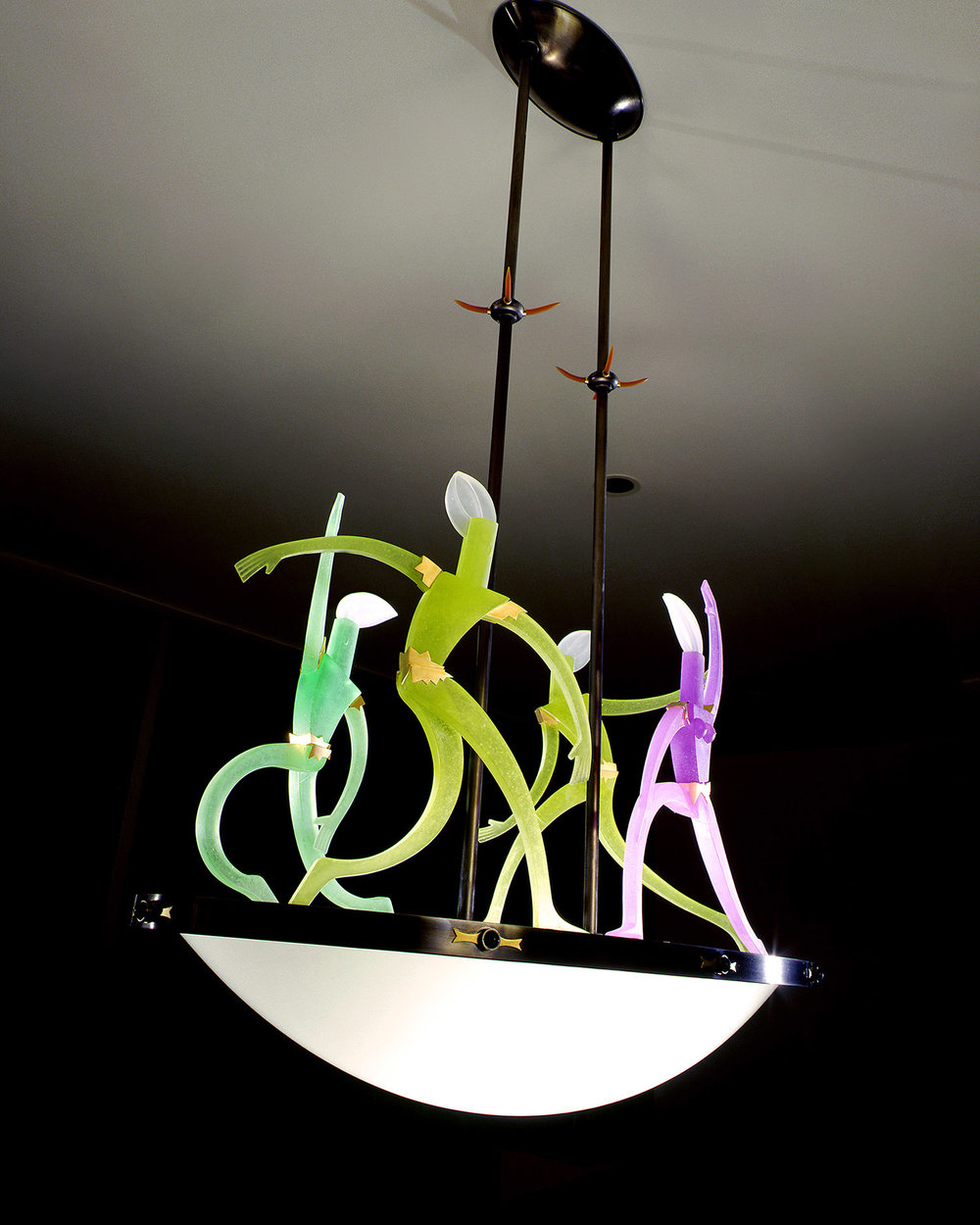 "Dance of Light    1999. Blown glass, nickel and gold-plated bronze, brass, aluminum, steel, pate de verre and lampworked glass. 19 x 38½ x 20½"" each"