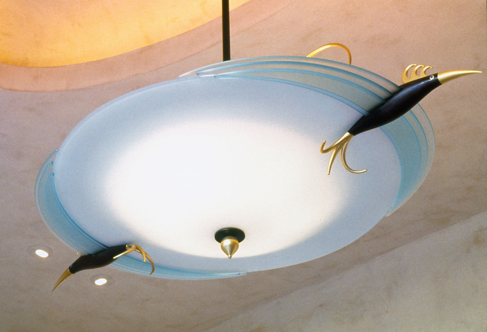 Two Bird Chandelier   1995. Slumped glass, plate glass, gold plated and patinated bronze.