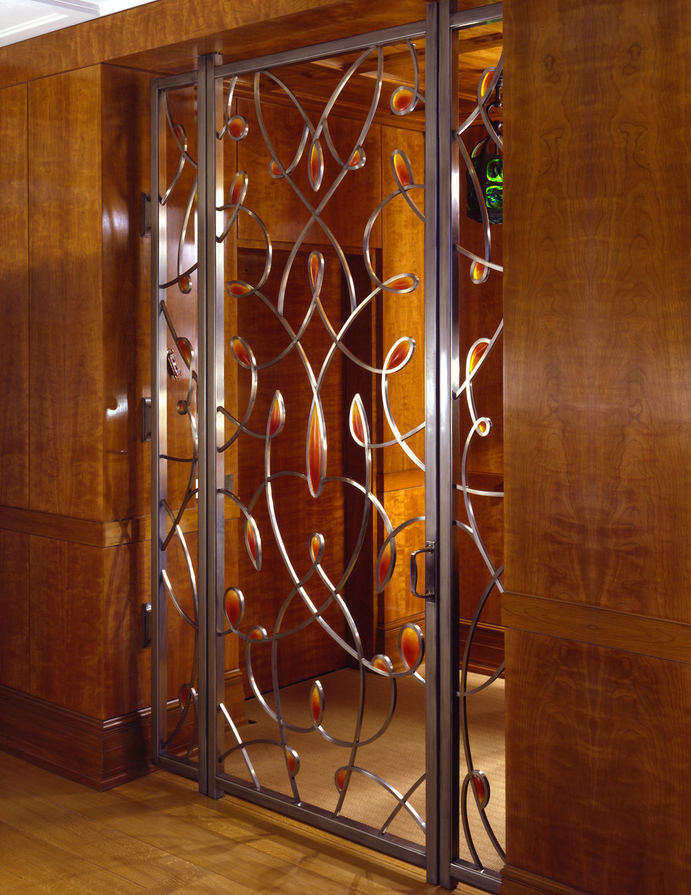 "Fall 2002. Steel, nickel-plated bronze, pate de verre. 108 x 72""  Private residence, New York, NY"