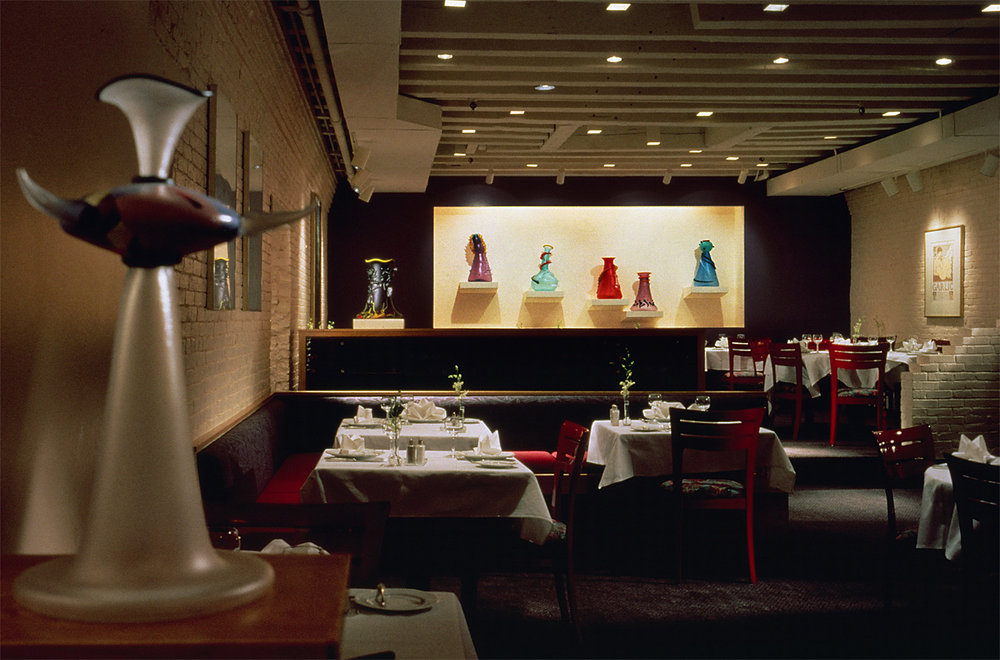 Abstract Heads 1991. Blown glass, sandblasted and acid polished. Jasper's Restaurant, Boston, MA