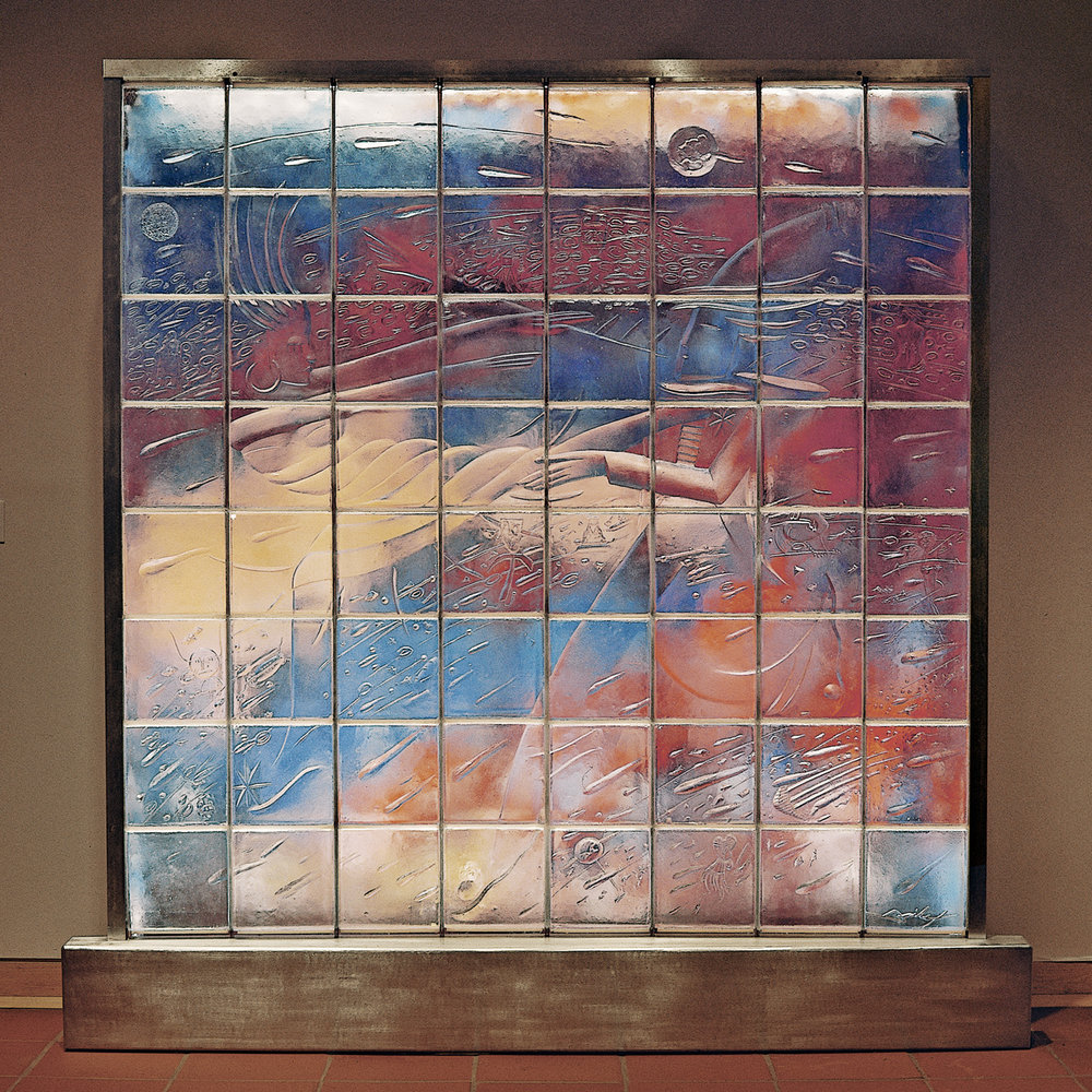 "Fantasy 1988. Cast glass, aluminum, paint, canvas. 96 x 96""  Los Angeles County Museum of Art, Los Angeles, CA"