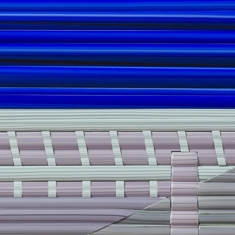 "Furnace   2017.Glass cane, anodized aluminum. 17½x 25 x 1½"""
