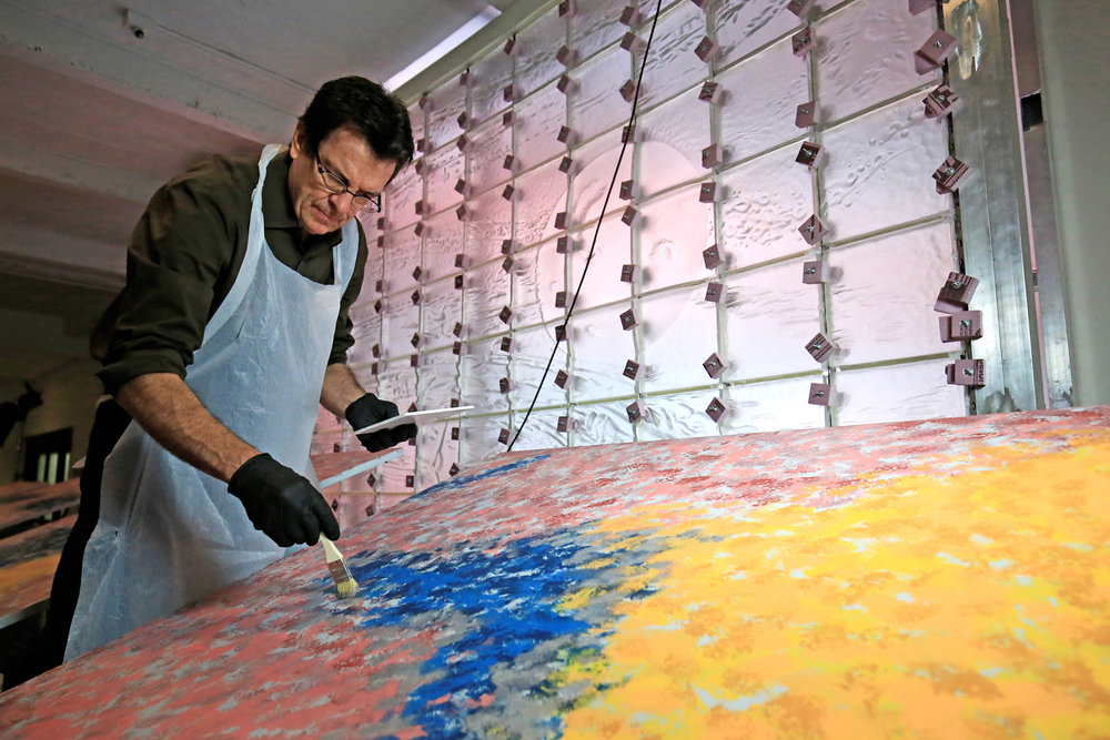 Dan Dailey recreates the original backdrop that had deteriorated over 3 decades in the Rainbow Room