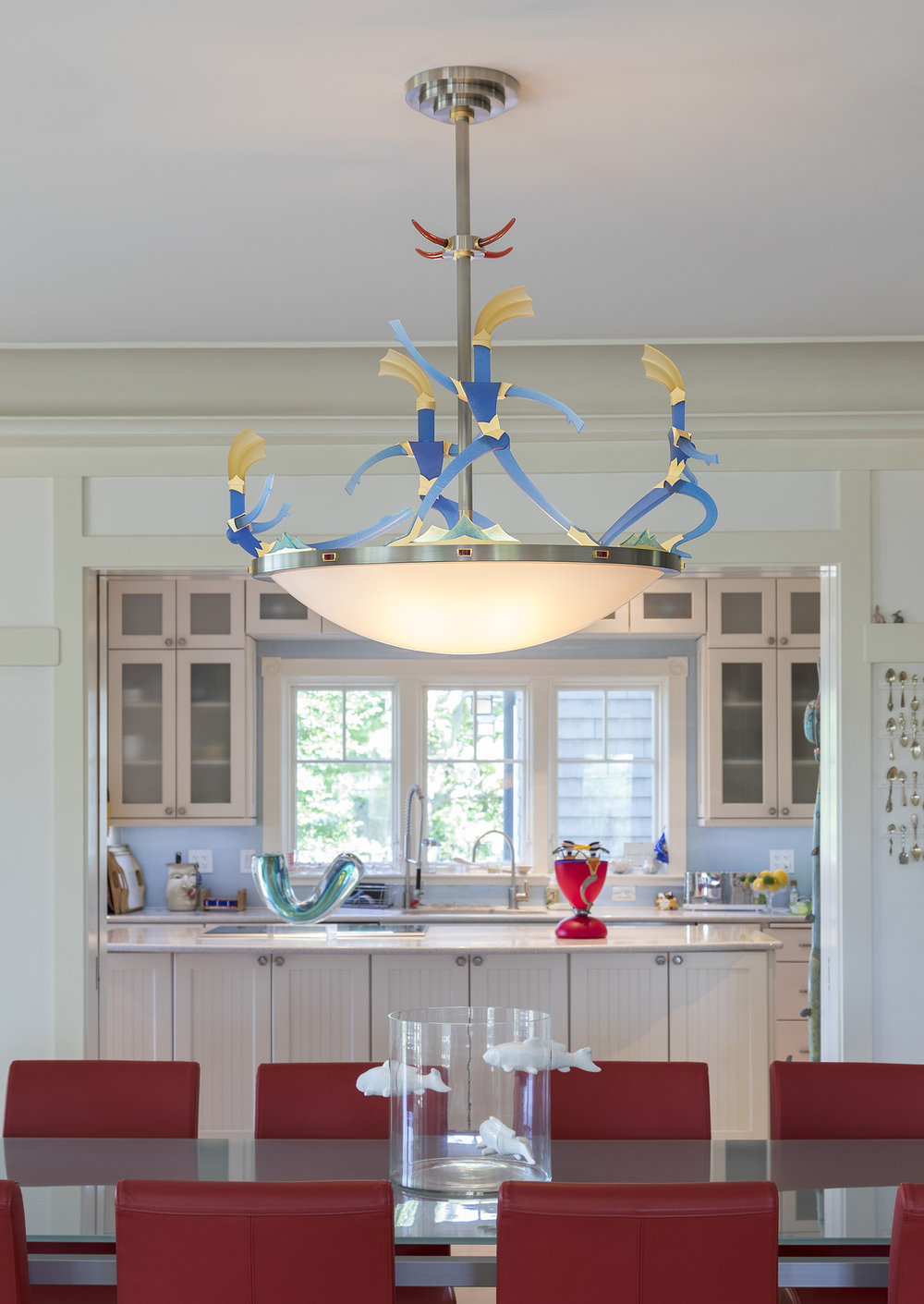"Gift of Light   2017. Blown glass, nickel and gold-plated bronze, brass, aluminum, steel, pate de verre and lampworked glass. 53 x 39½ x 17½"" Private residence, Westerly, RI"