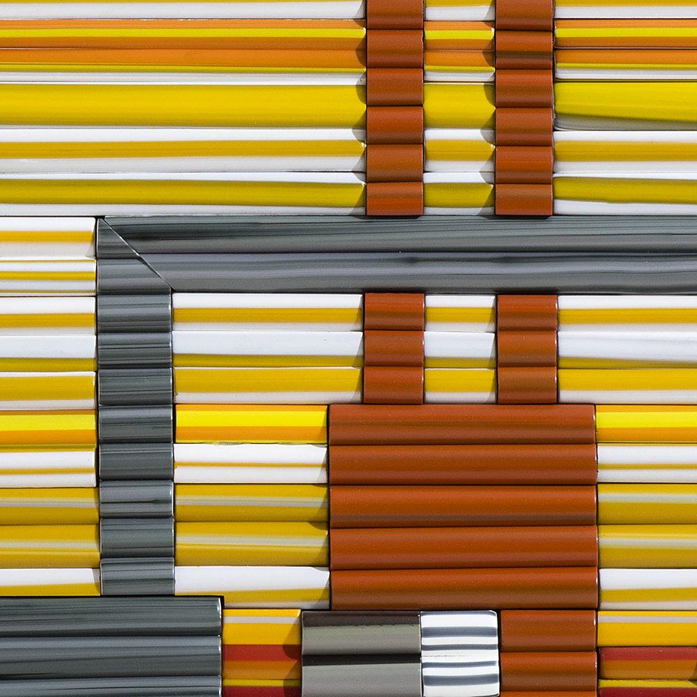 "Sky Fire   2017. Glass rods, aluminum. 18 x 24 x 2"""