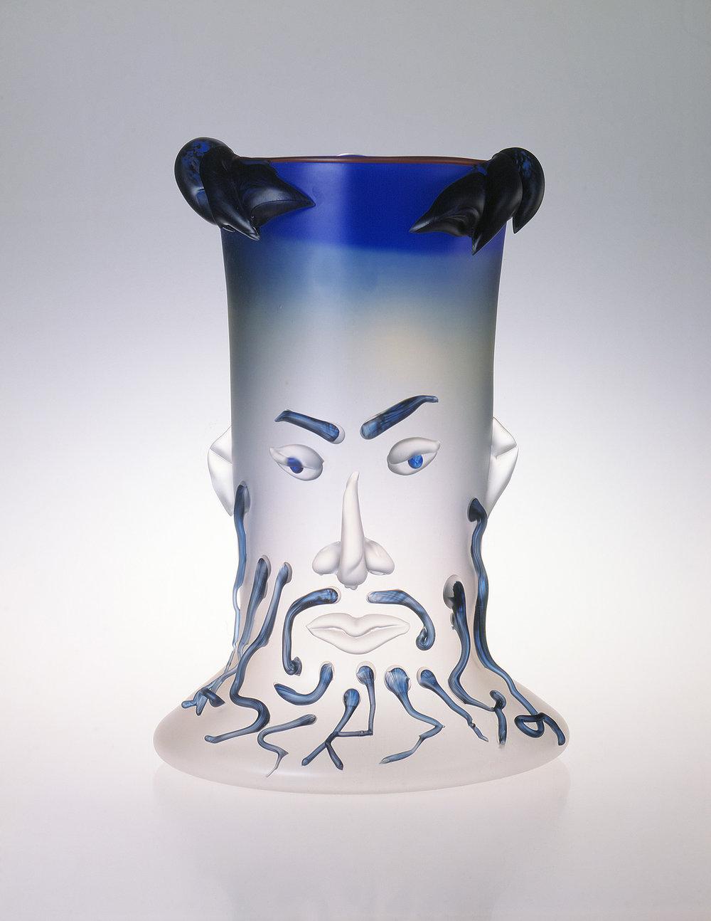 "Zeus   1989. Blown glass, sandblasted and acid polished. 25 x 14 x 14"""