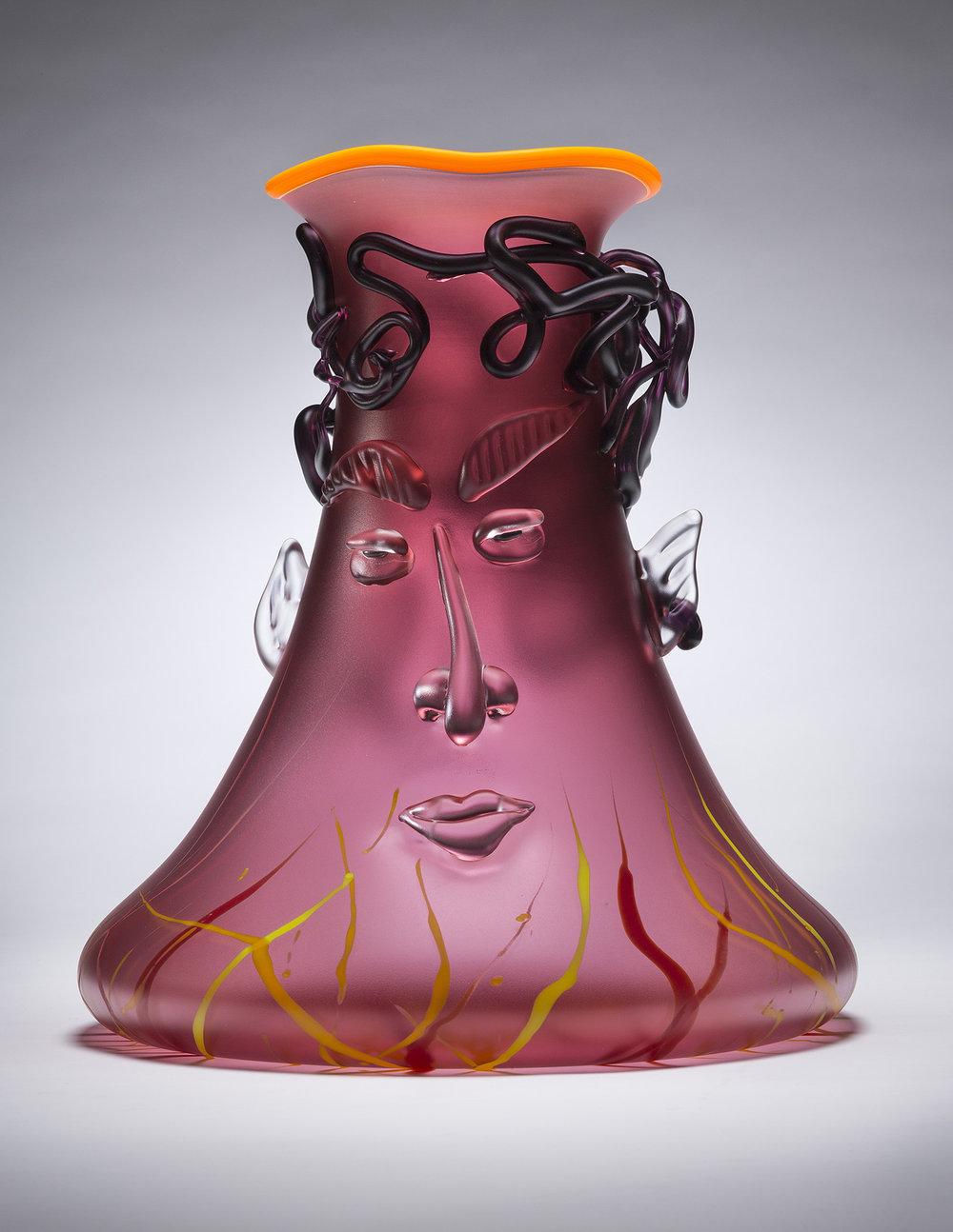 "Dionysus   2015. Blown glass, sandblasted and acid polished. 16½ x 15"""