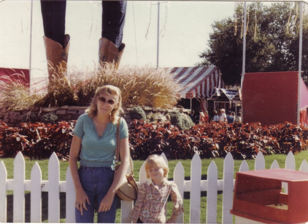 Mom and I in front of Big Tex. Some time in the late 70s or early 80s because that is an AWSOME paisley shirt I've got going on. BONUS PLOT SWAP for you: The position of her right hand is not an accident. Let your mind play with that for a little while. I'd seen this picture throughout my entire life and was in my 30s before I ever noticed.