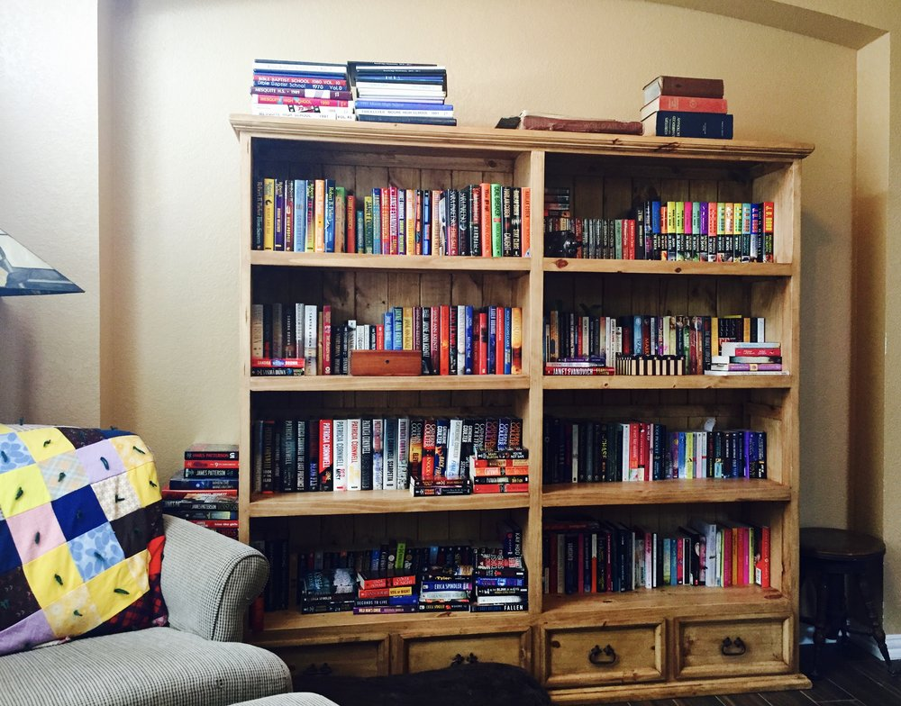 This is the book shelf in my office. I love it. It is my reading challenge for 2018. Details coming soon!