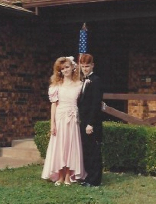 Prom 1991. The picture is fuzzy. It was probably taken with a disposable camera, but you can still see my hair...You could probably have seen it from space.