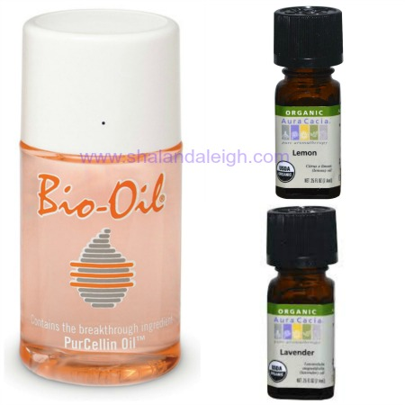Bio-Oil can be purchased at your local drugstore. I prefer the Aura Cacia brand of essential oils at Whole Foods.