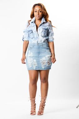 Swank's Denim Diva Distressed Skirt - www.shalandaleigh.com