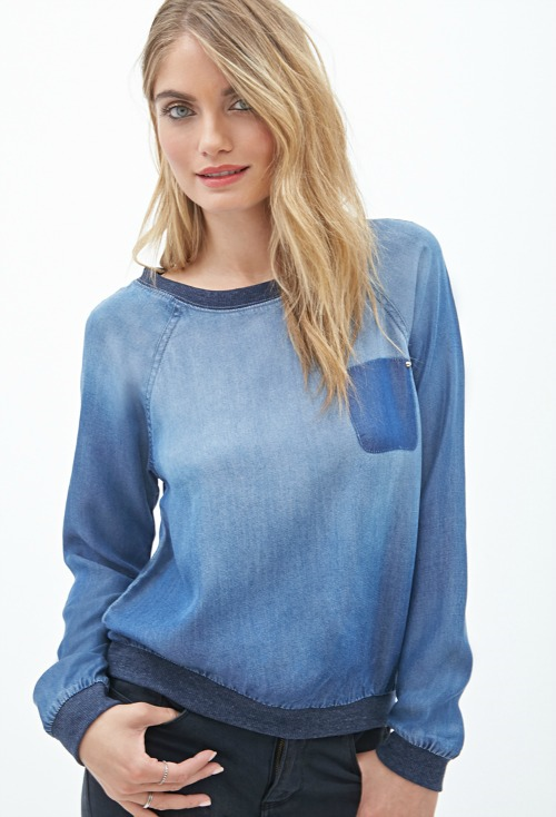 Forever21 Denim Pocket Pullover