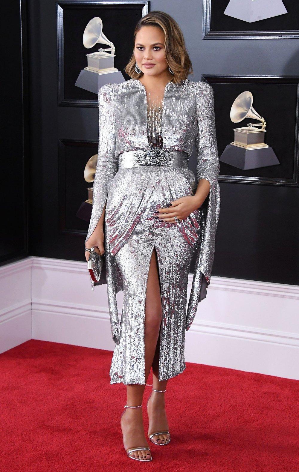 Grammys Awards 2018 - Chrissy Teigen in Yanina Couture.jpg