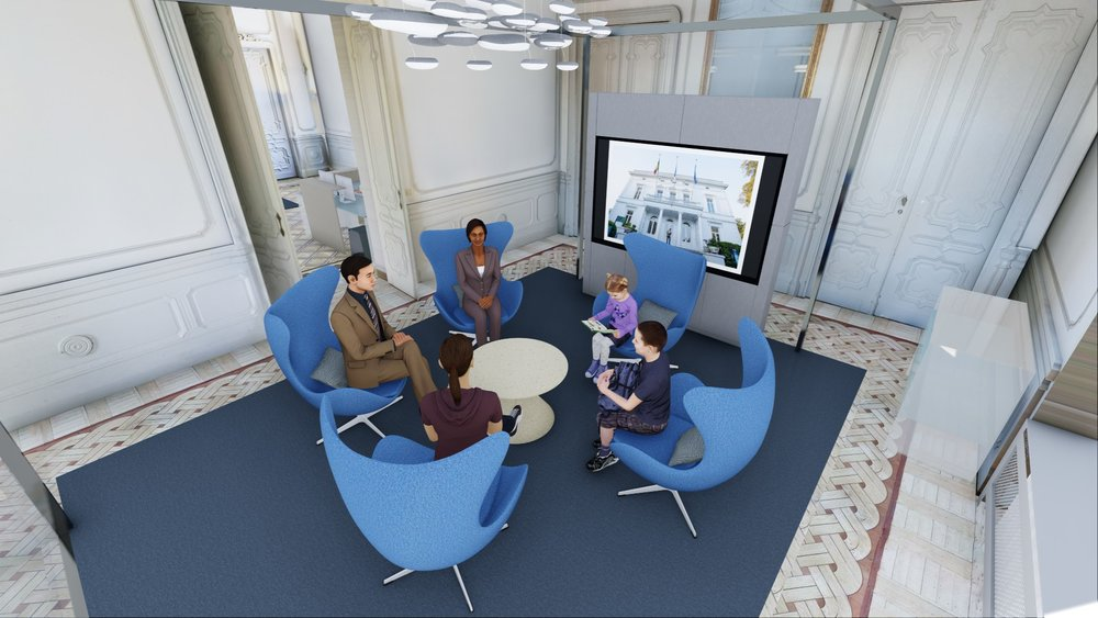 Artistic impression of the ISB Experience Room designed by tp bennett.  Used with permission.