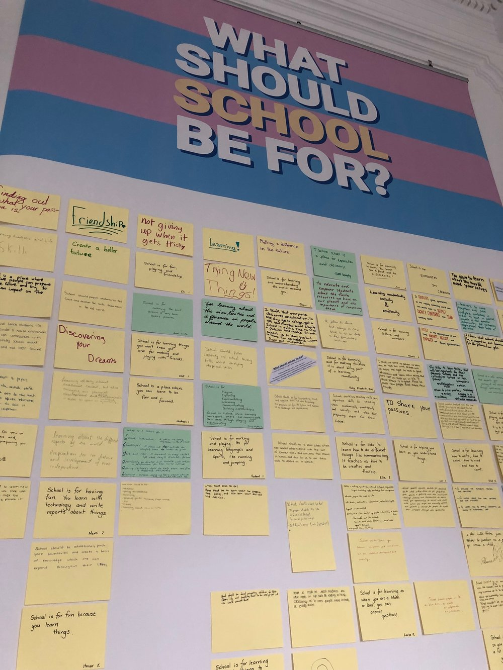 What should school be for? An interactive exhibition at the International School of Brussels.