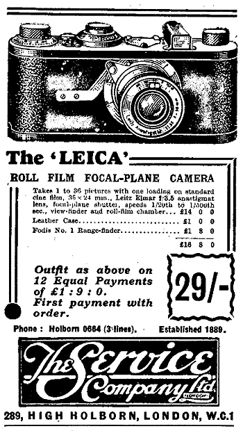 Leica I (Model A) Advertisement from The Service Company Ltd. (1931).