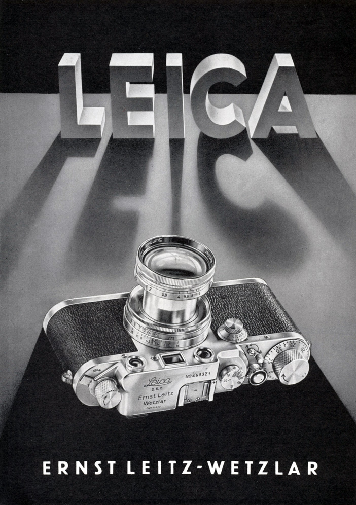Leica IIIc (1948/49) advertisement, published in Vak Fotografie 1950, Internationale Tentoonstelling, Stedelijk van Abbe Museum, Eindhoven. (The Leica IIIc was the main predecessor of the Leica IIIf.)