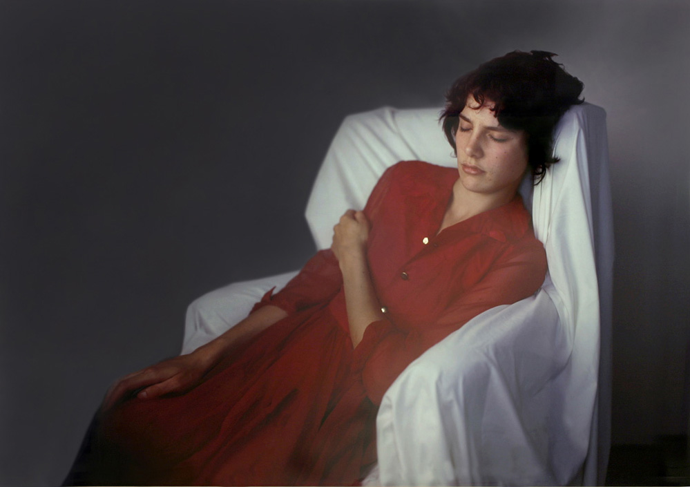 Photo: Agnes in Red Dress on White Chair 2009, by Richard Learoyd.