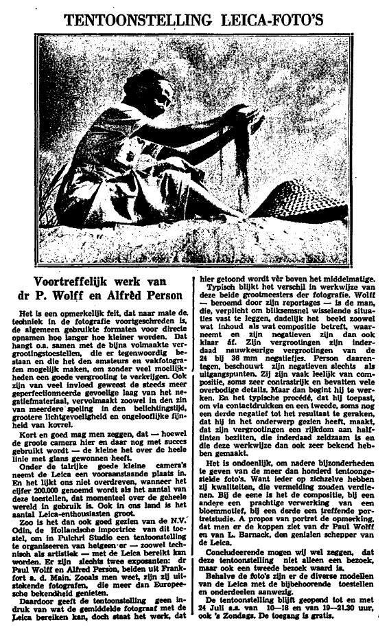 Tentoonstelling Leica-Foto's, Het Vaderland, 6 juli 1936