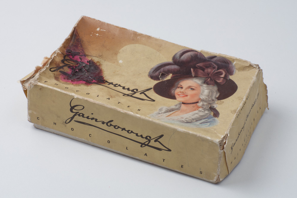 Photo: Old packaging from Gainsborough Chocolates Ltd., Hainault Essex, England, currently containing my new acquisition.