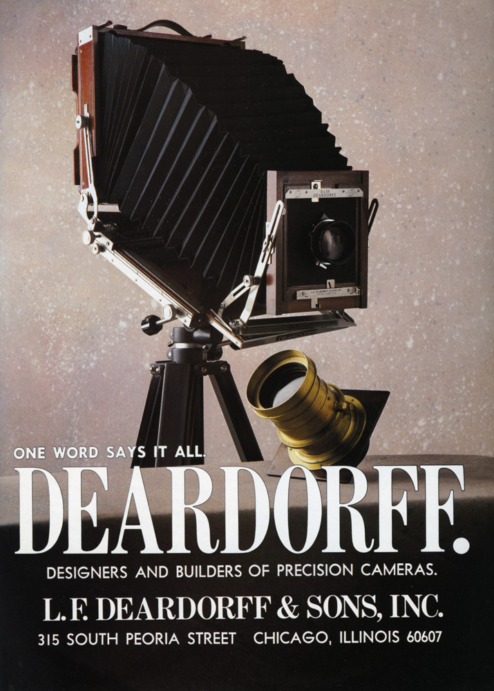 A Deardorff advertisement in Collectors Photography, September/October 1987