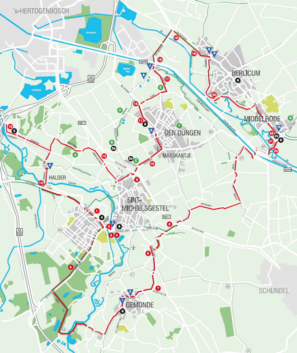 Map showing the locations of the billboards and the bicycle route.
