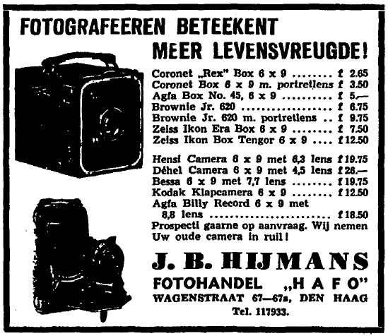 "Image: Advertisement from ""Fotohandel HAFO"", a dealer of Afga products in The Hague (The Netherlands), published in a newspaper in 1939."