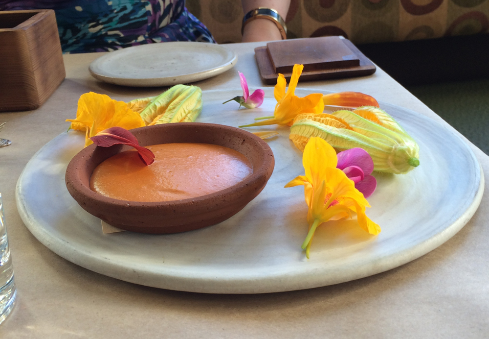 Flowers and dipping sauce.