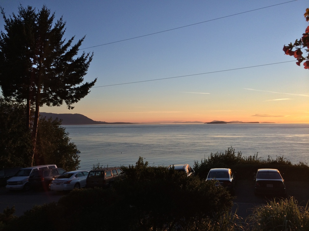 The sun will be about here at this point in the meal. Looking west towards Orcas, Matia and Sucia islands.