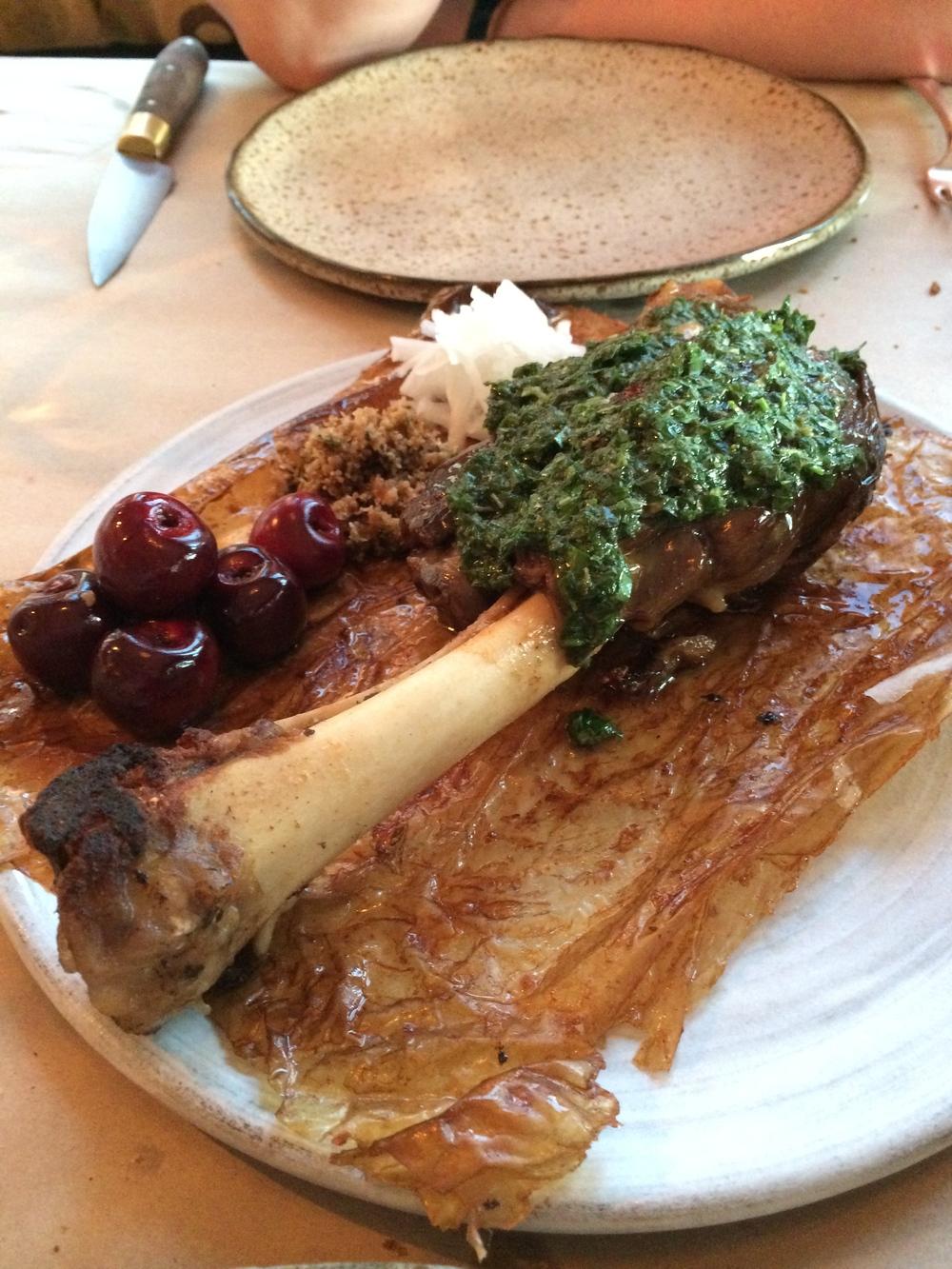 Slow roasted leg of lamb.