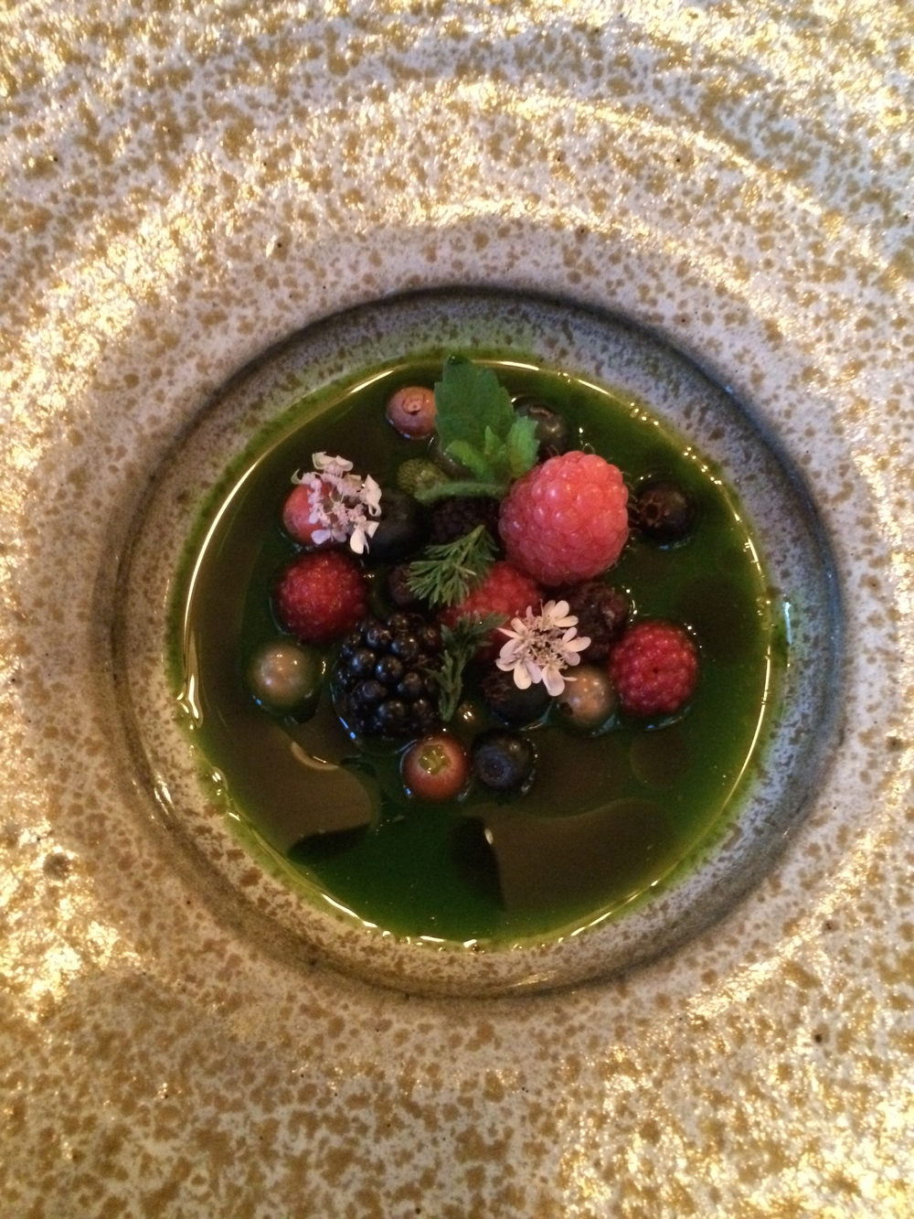 Local berries in a grass broth.