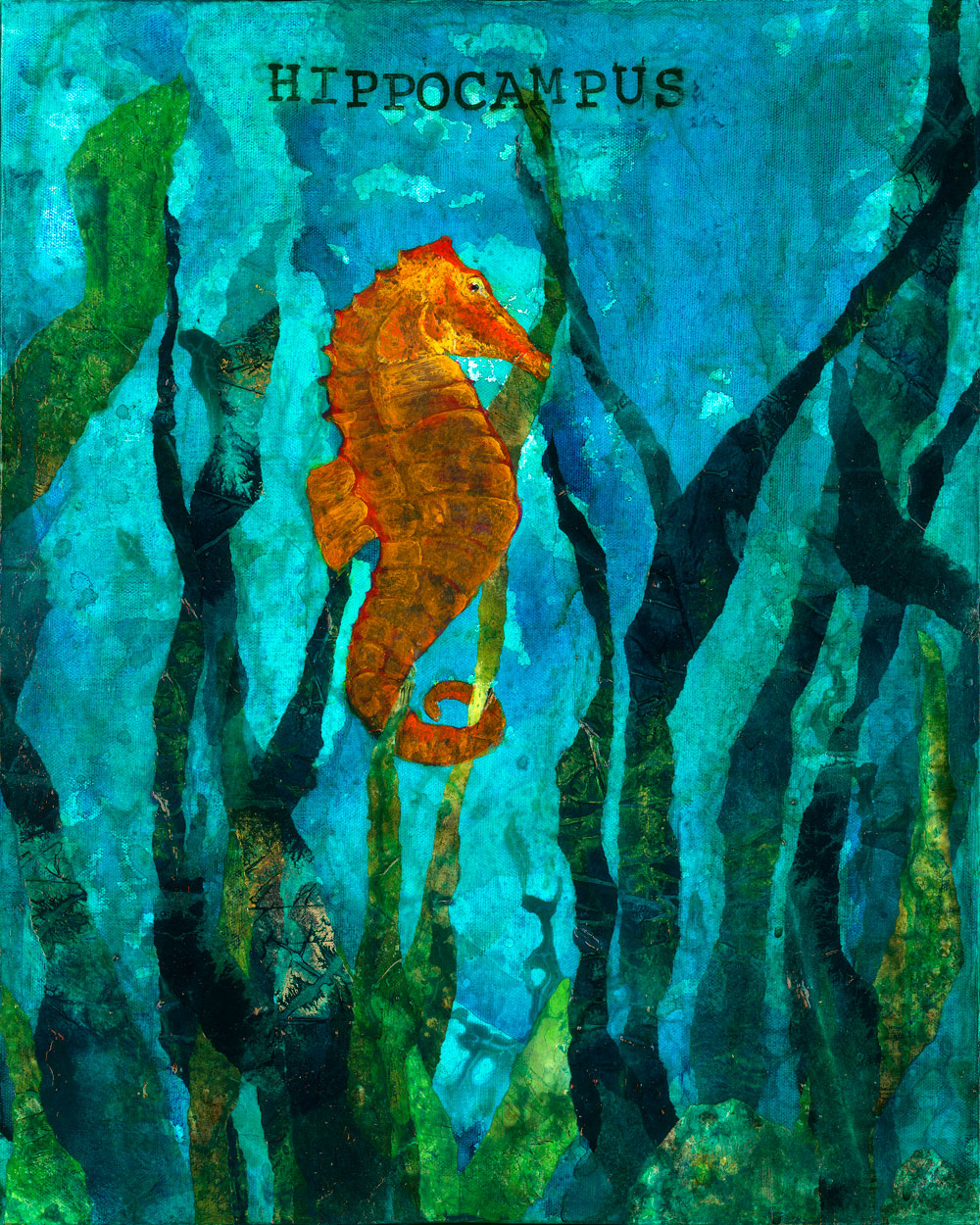 Hippocampus, Seahorse   ORIGINAL AVAILABLE 20x16 Mixed Media on Canvas