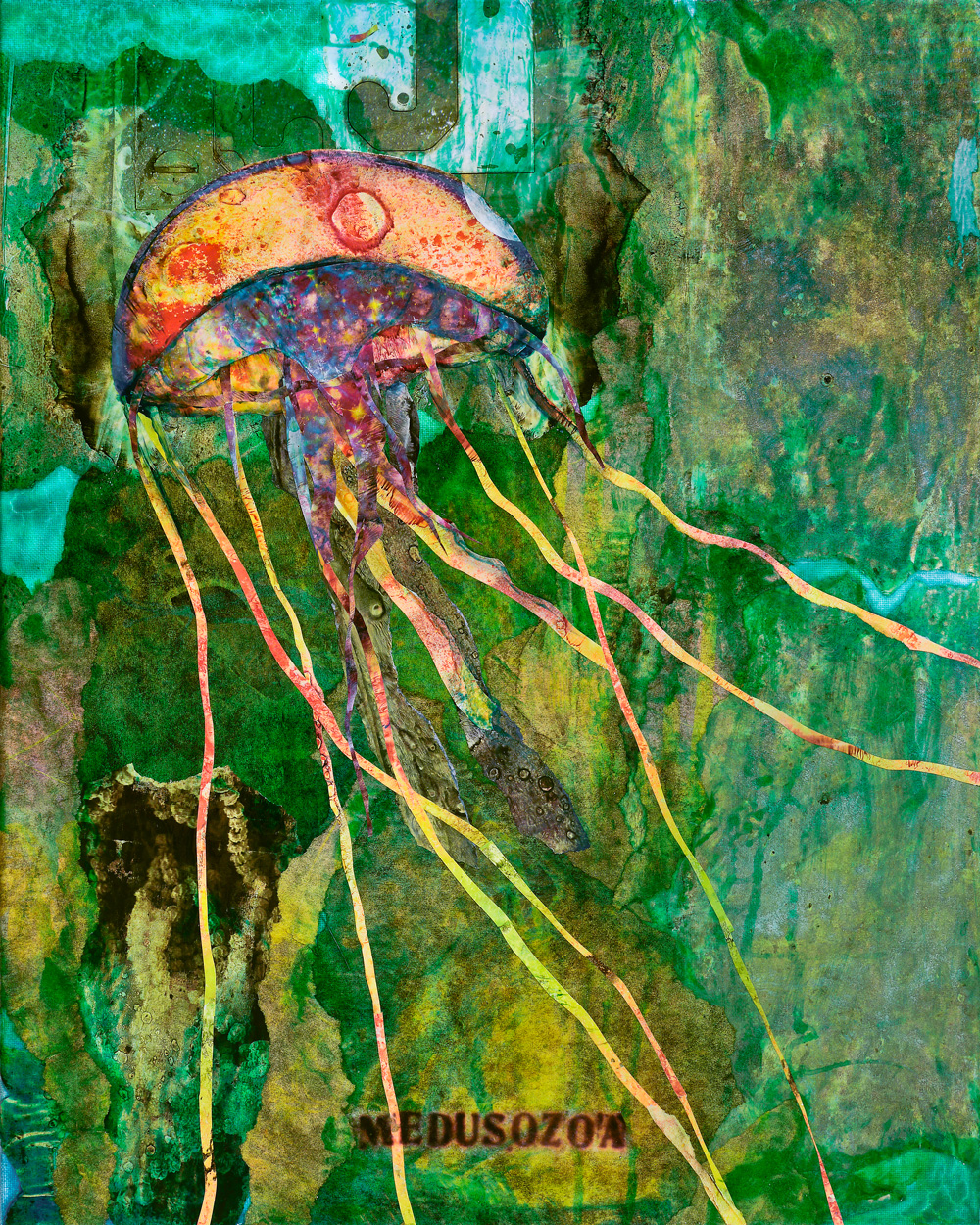 Medusozoa, Jellyfish    SOLD 20x16   Mixed Media on Canvas