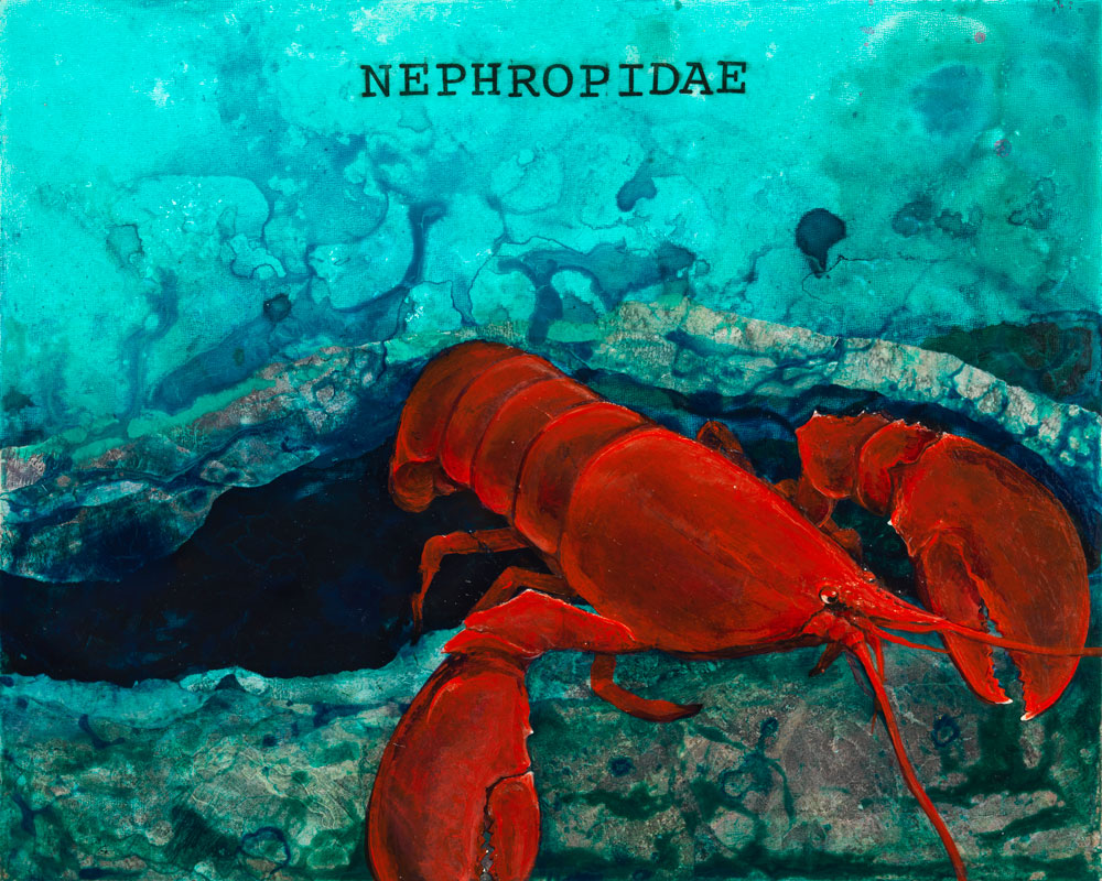 Nephropidae, Lobster  ORIGINAL AVAILABLE 16x20  Mixed Media on Wood