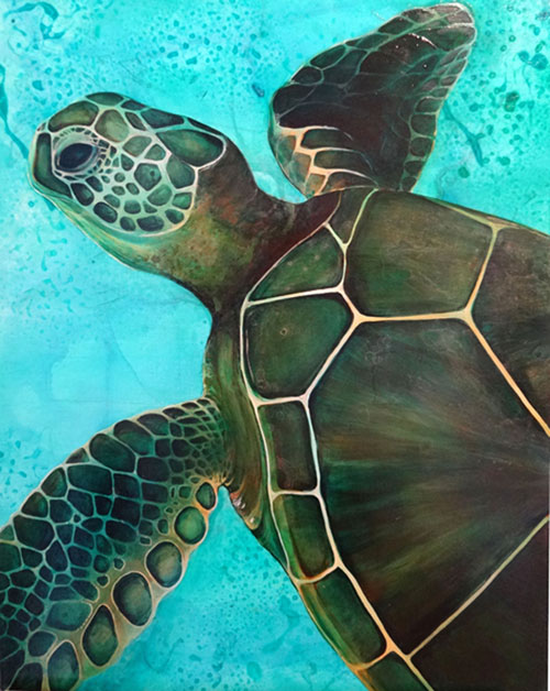 Green Sea Turtle  SOLD 30x24 Acrylic on Canvas