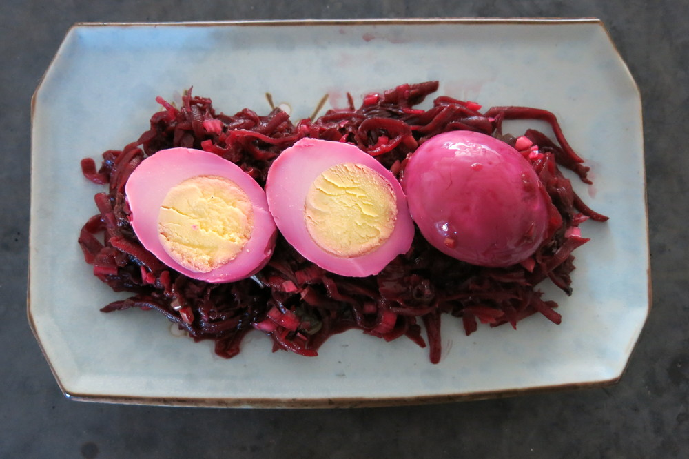 Ruby eggs in a beet kraut nest