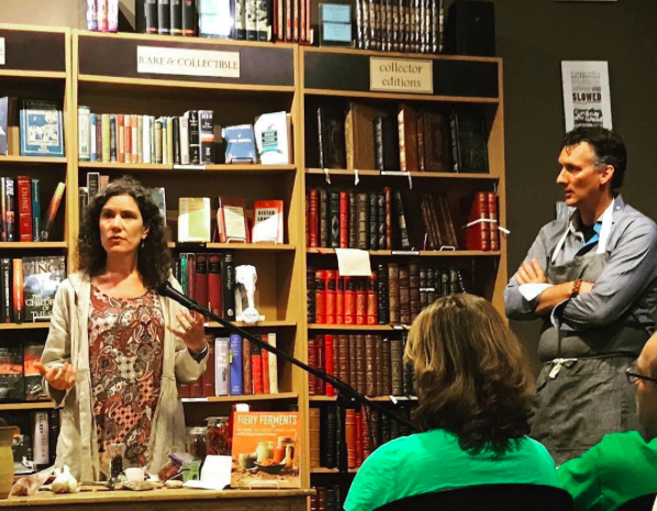 - We enjoyed getting to know an engaged group at a community-based bookstore. Photo courtesy of one of those engaged audience members, rainydaybees.com. I am not sure what Kirsten was explaining but she had my attention. Still learning...