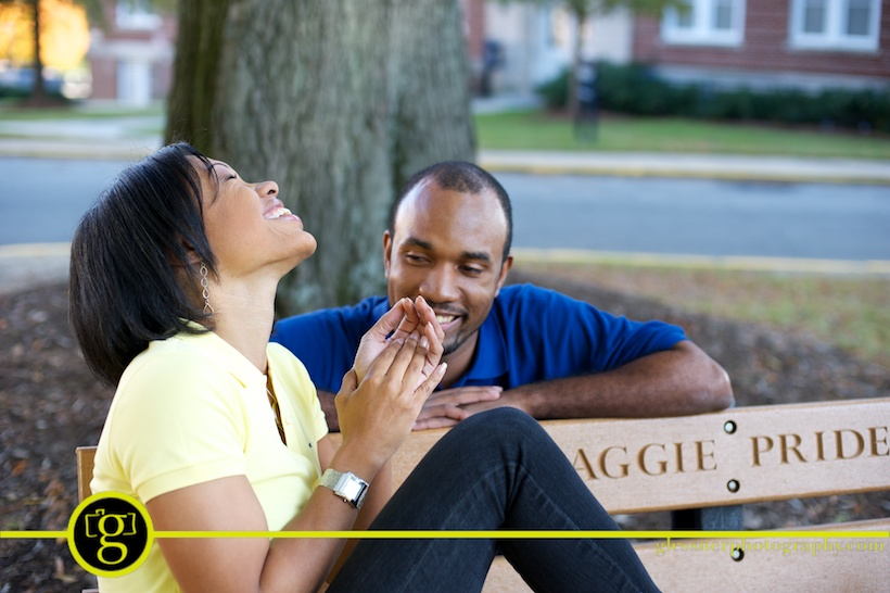 Tony and Tonika's NC A&T engagement session in downtown Greensboro, NC