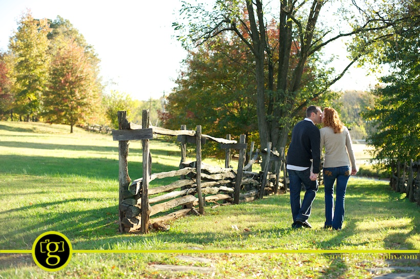 Jeremy and Christi's autumn engagement session at Old Salem in Winston-Salem, NC