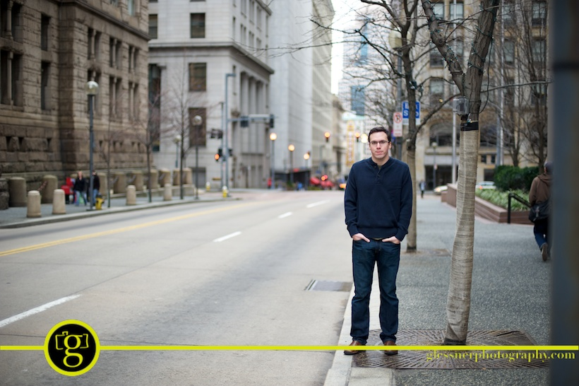 Josh Glessner in downtown Pittsburgh in January by Glessner Photography