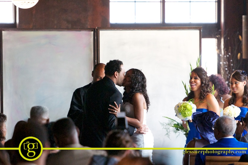 Krissie and Kali's classic blue wedding by Behind the Scenes Inc at Bin 33 in downtown Greensboro, NC