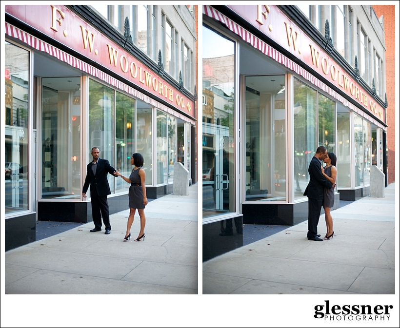 reasons to do an engagement session with Tonika and Tony's downtown engagement session in Greensboro, NC by Glessner Photography