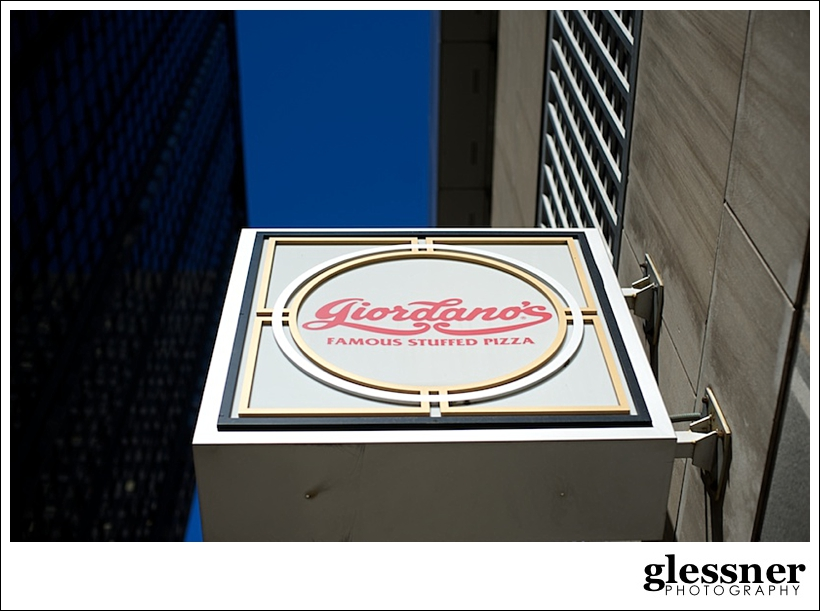 sign outside of Giordanos stuffed pizza in Chicago by Glessner Photography