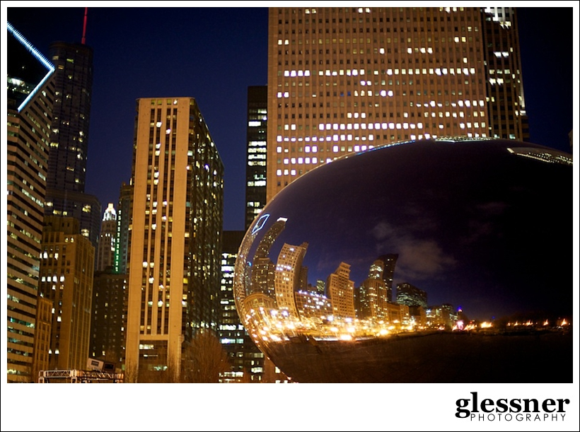 Chicago skyline at night with the bean by Glessner Photography
