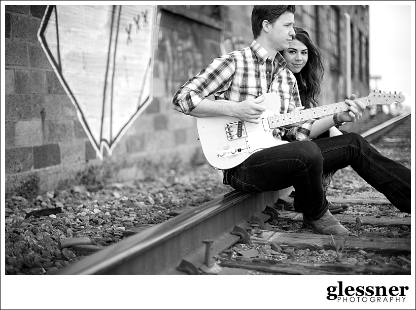 Kristin and Read of The Westbound Rangers downtown Nashville engagement session by Glessner Photography