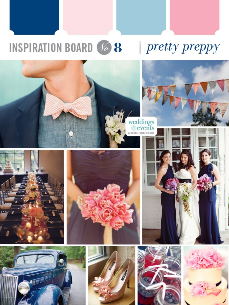 Pretty Preppy inspiration board by Michelle Hickey Design featuring Glessner Photography image from Wedding Chicks feature