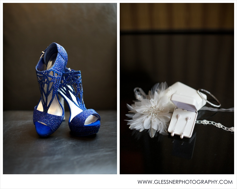 Blue Gianni Binni wedding shoes and feather fascinator