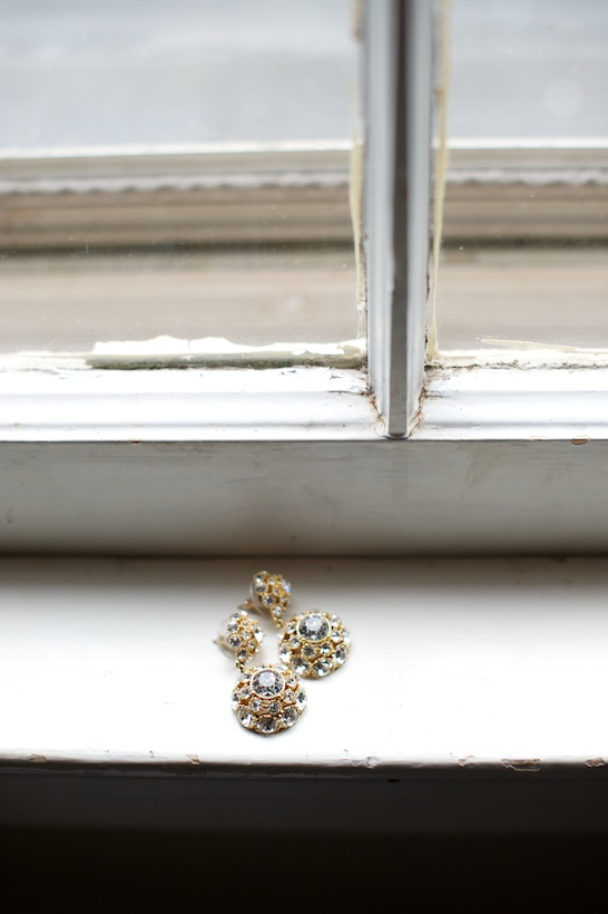 Photo by Elizabeth Glessner of Glessner Photography of Kate Spade gold and rhinestone earring from Rent the Runway at the backyard wedding of J.P. Perkins and Katherine Henry in Asheboro, NC