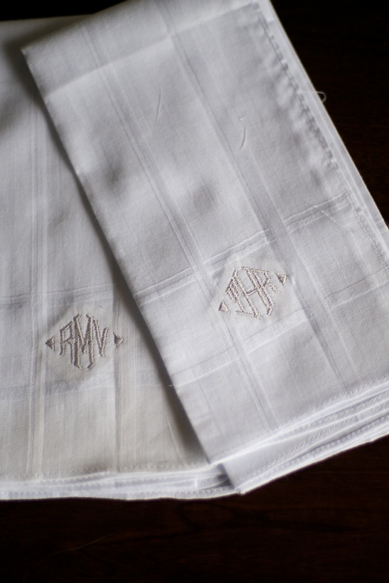 Wedding day detail photo by Josh Glessner of Glessner Photography of the groom's monogrammed handkerchief at the backyard wedding of J.P. Perkins and Katherine Henry in Asheboro, NC
